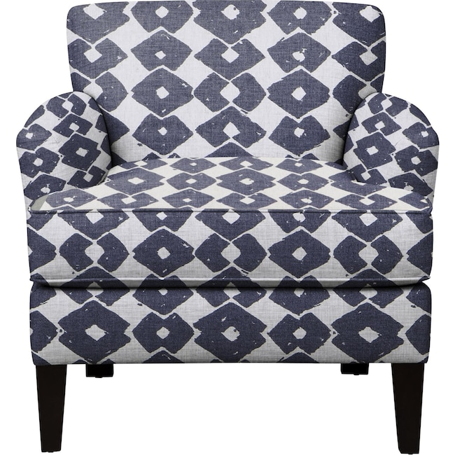 Living Room Furniture - Marcus Chair w/ Beechwood Indigo Fabric