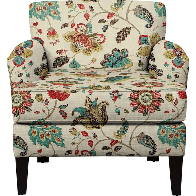 Living Room Furniture - Marcus Chair w/ Spring Mix Poppy Fabric