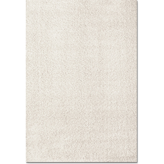 Rugs - Domino White Shag Area Rug (5' x 8')