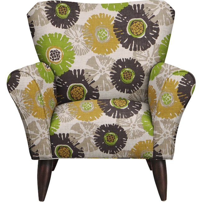 Living Room Furniture - Jessie Chair w/ Star Burst Slate Fabric