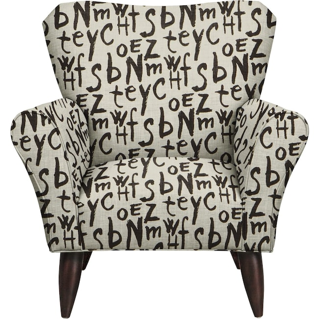 Living Room Furniture - Jessie Chair w/ American Grafitti Raven Fabric