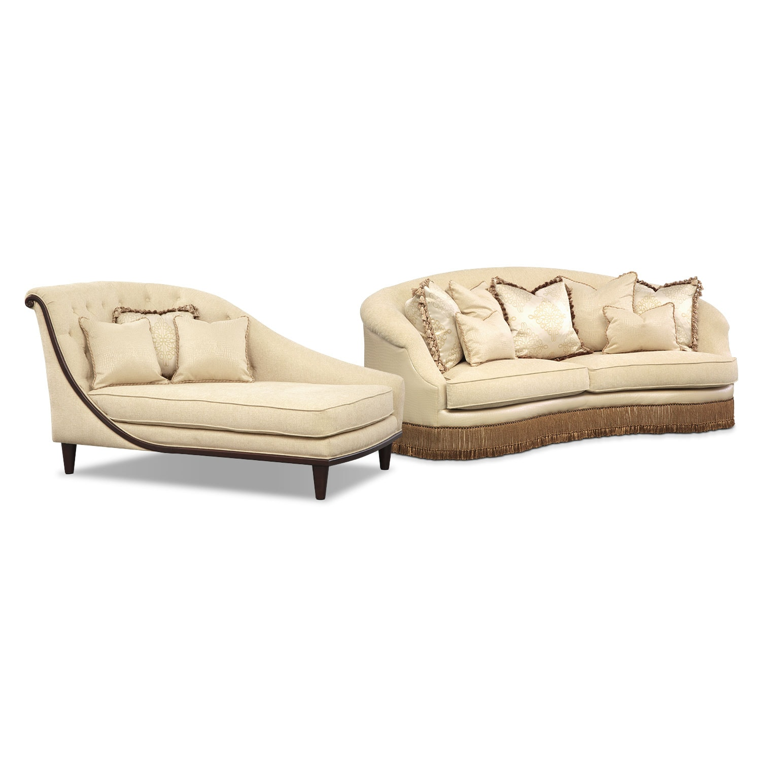 Living Room Furniture - Vivienne 2 Pc. Living Room w/Chaise