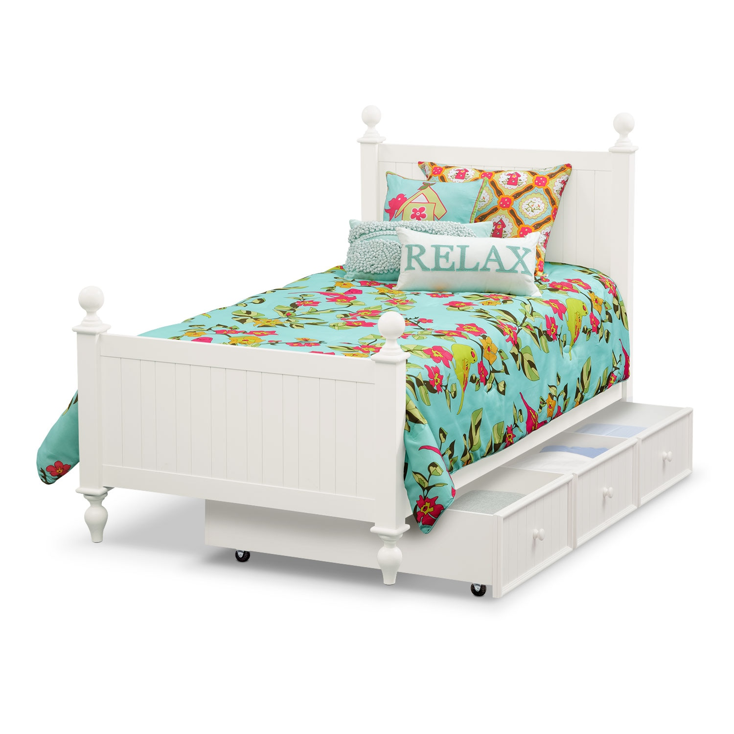 Colorworks Twin Bed With Twin Trundle White Value City