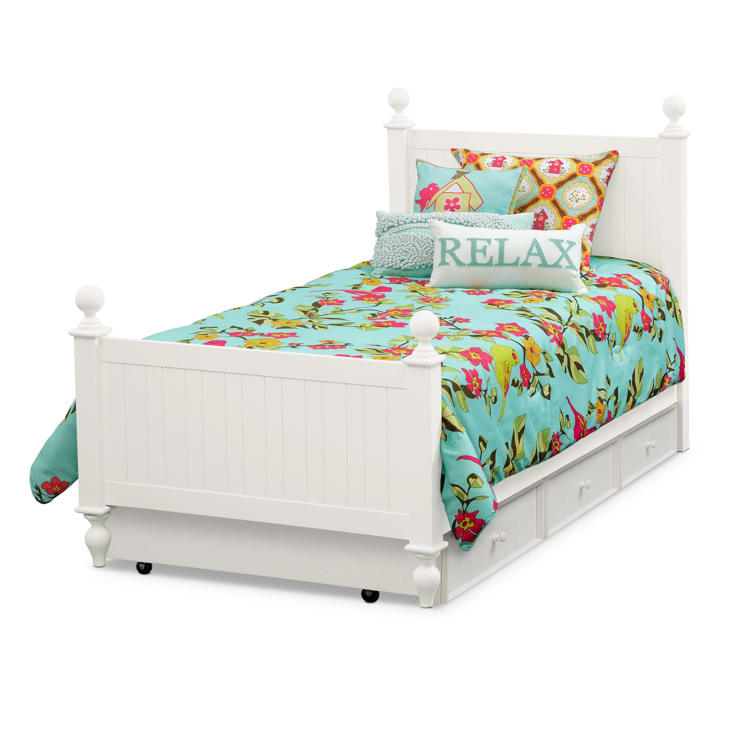 Kids Furniture - Colorworks Twin Bed with Trundle - White