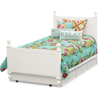 Colorworks Full Bed with Trundle - White