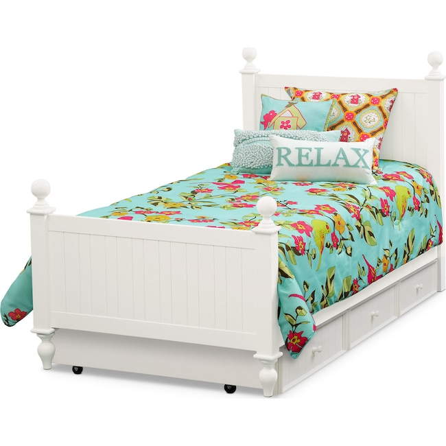 Kids Furniture - Colorworks Full Bed with Trundle - White