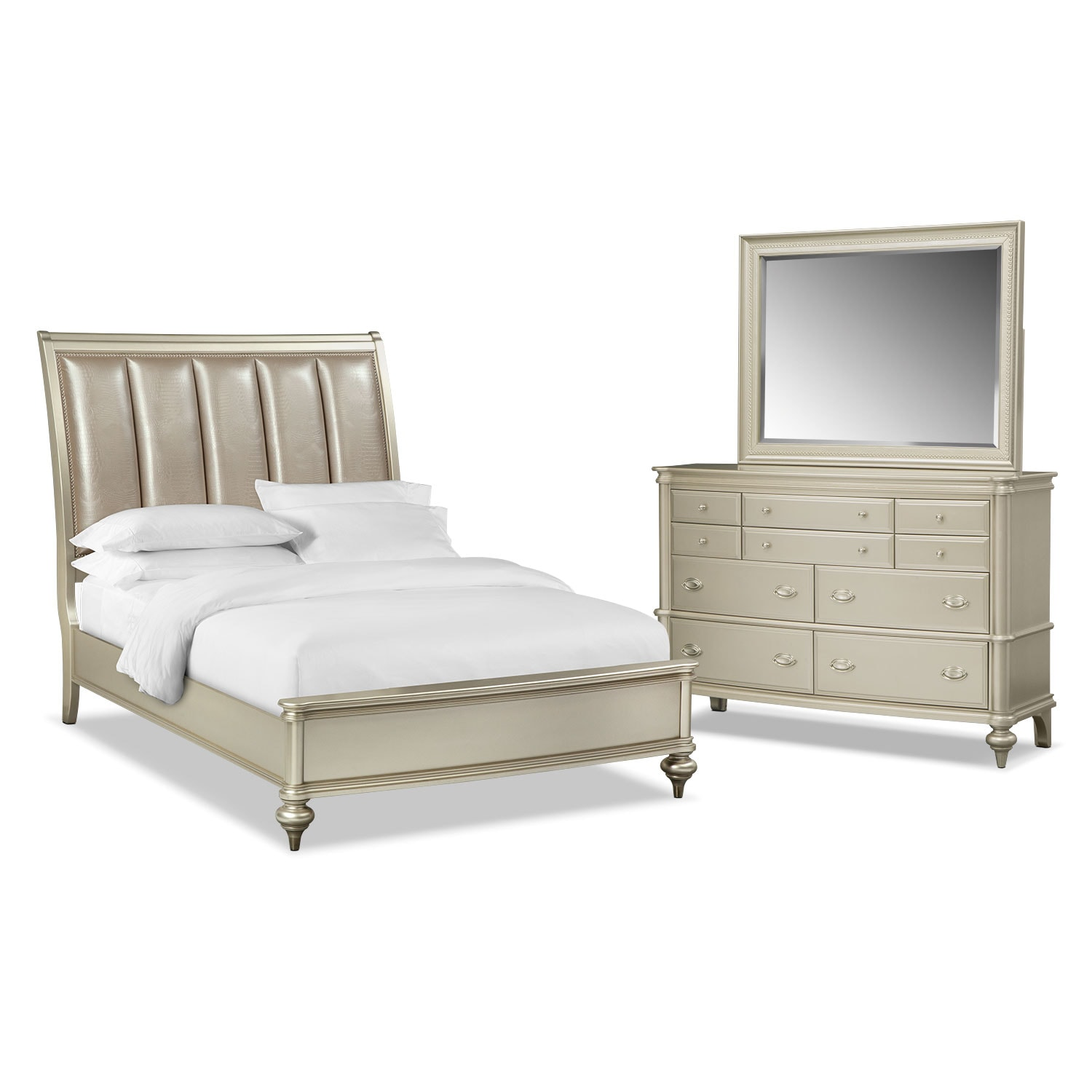 Bedroom Furniture - Esquire 5-Piece King Bedroom Set - Platinum
