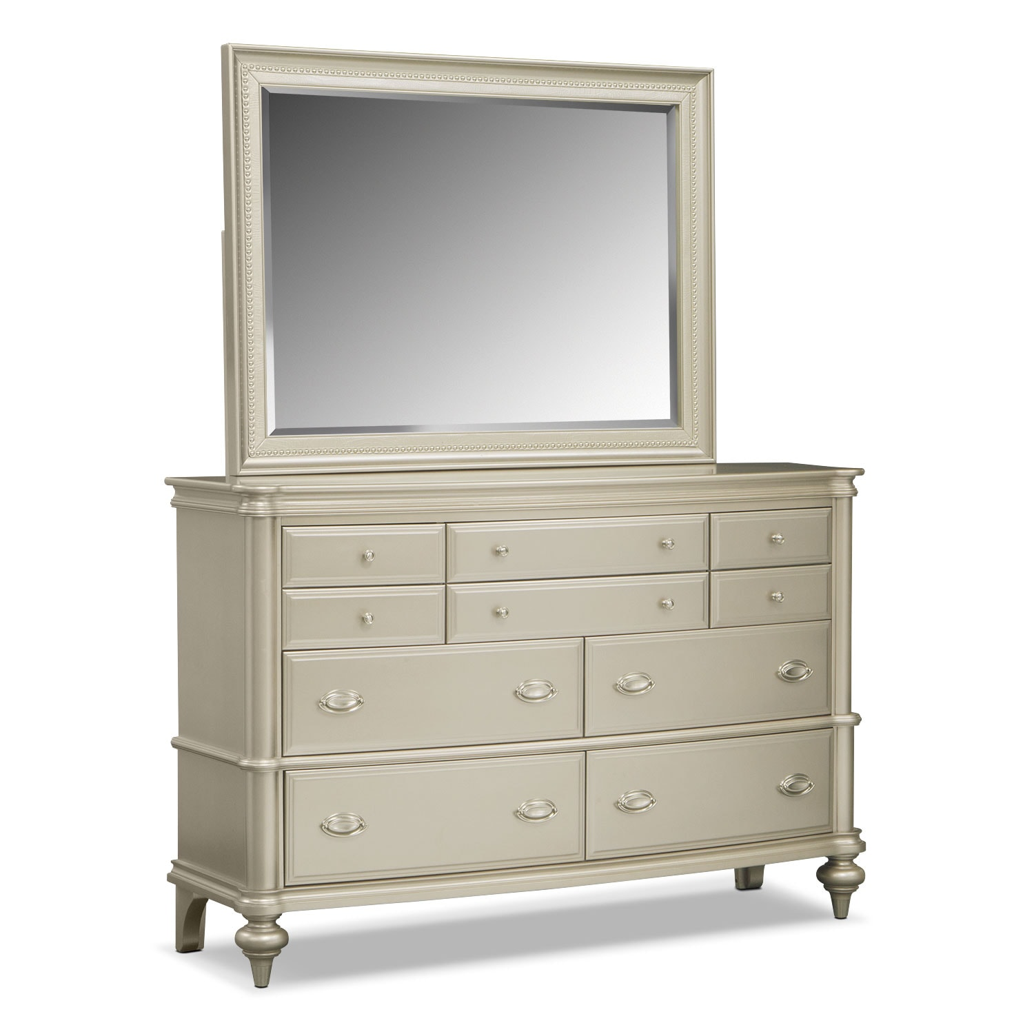 Bedroom Furniture - Esquire Dresser and Mirror - Platinum