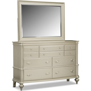 Esquire Dresser and Mirror - Platinum