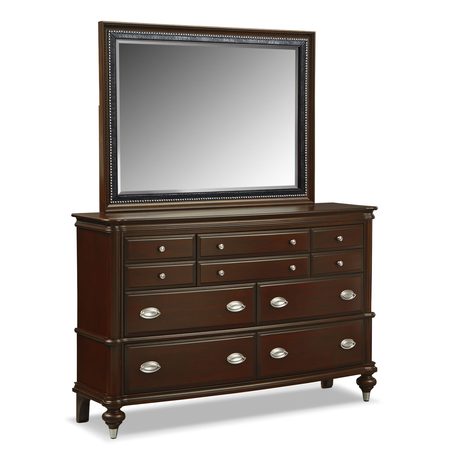 Bedroom Furniture - Esquire Dresser and Mirror - Merlot