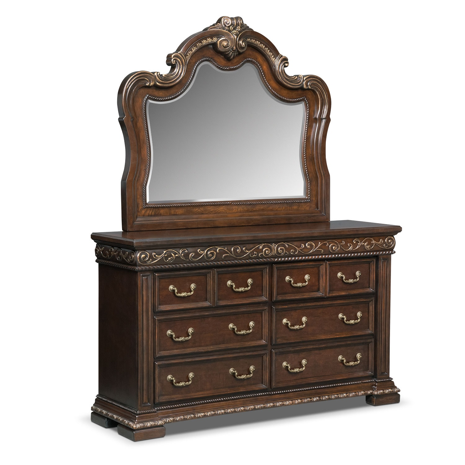 Bedroom Furniture - Contessa Mahogany Dresser & Mirror