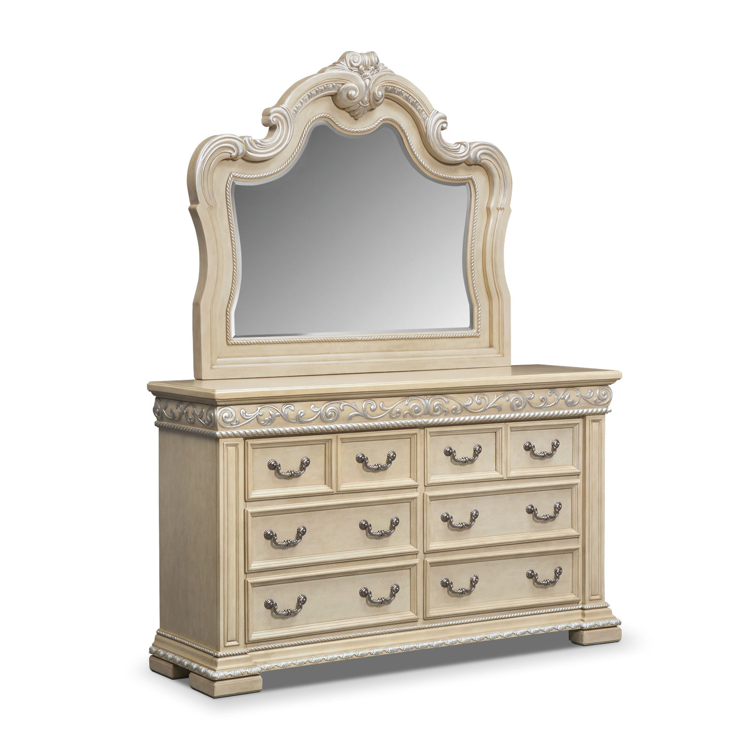 Bedroom Furniture - Contessa Pearl Dresser & Mirror