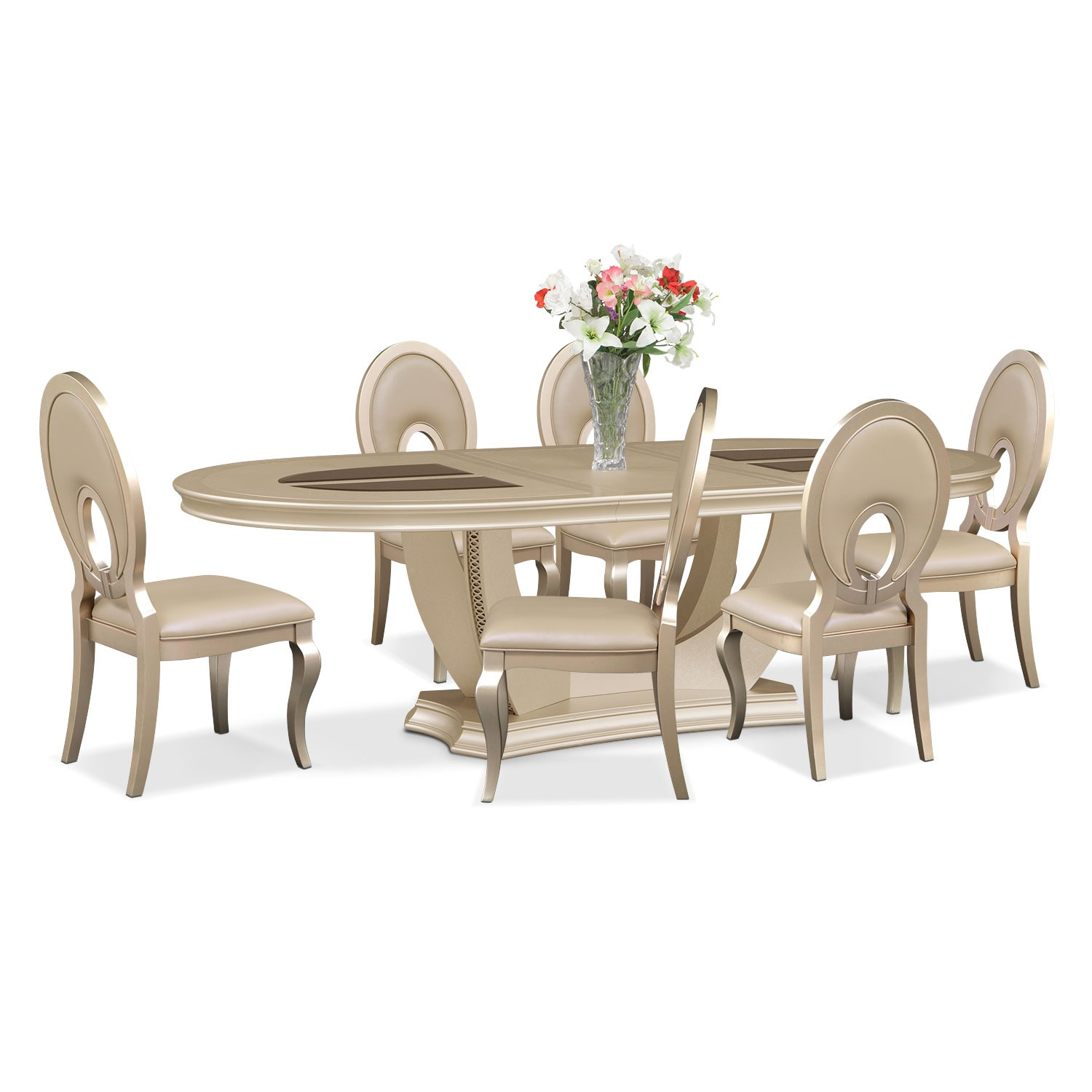 Dining Room Furniture - Allegro Oval Table and 6 Chairs - Platinum