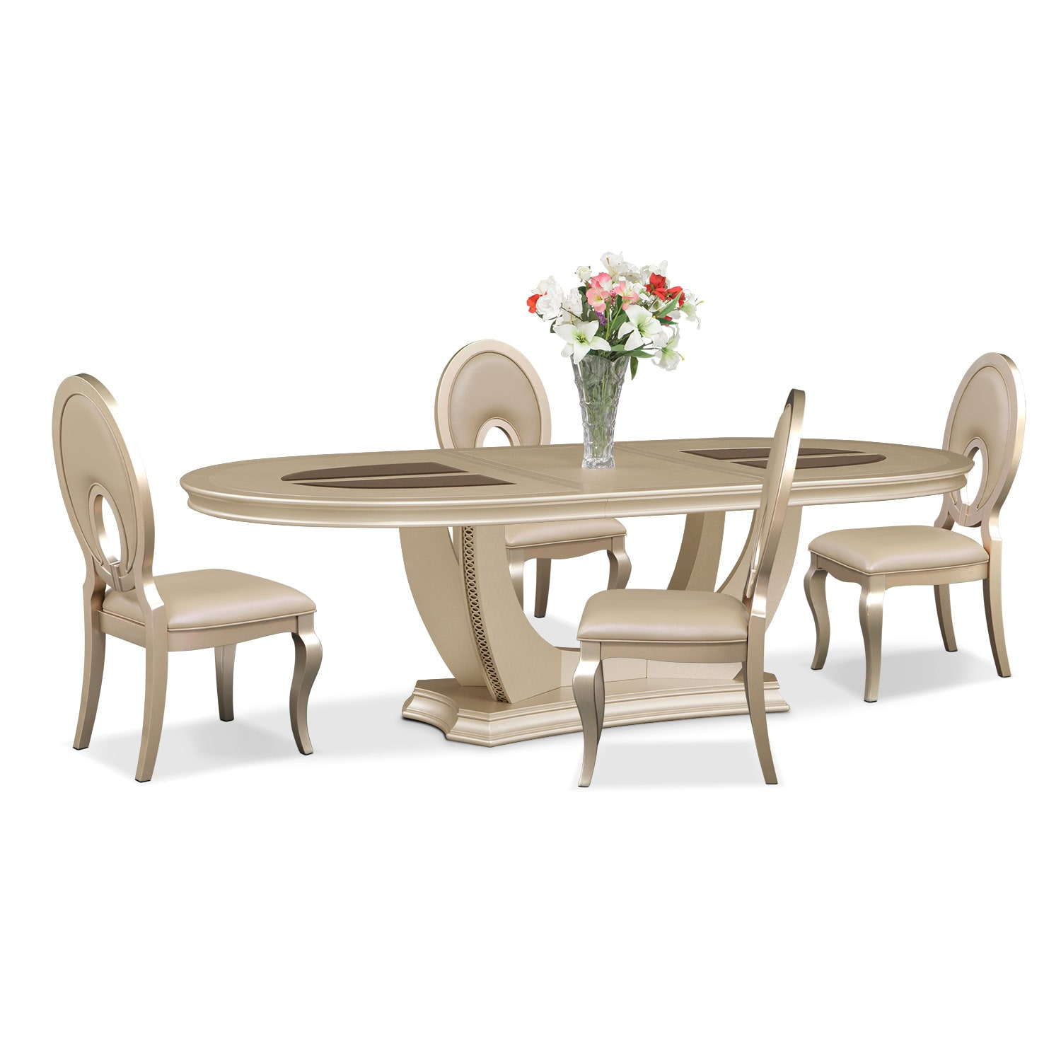 Dining Room Furniture - Allegro Oval Table and 4 Chairs - Platinum