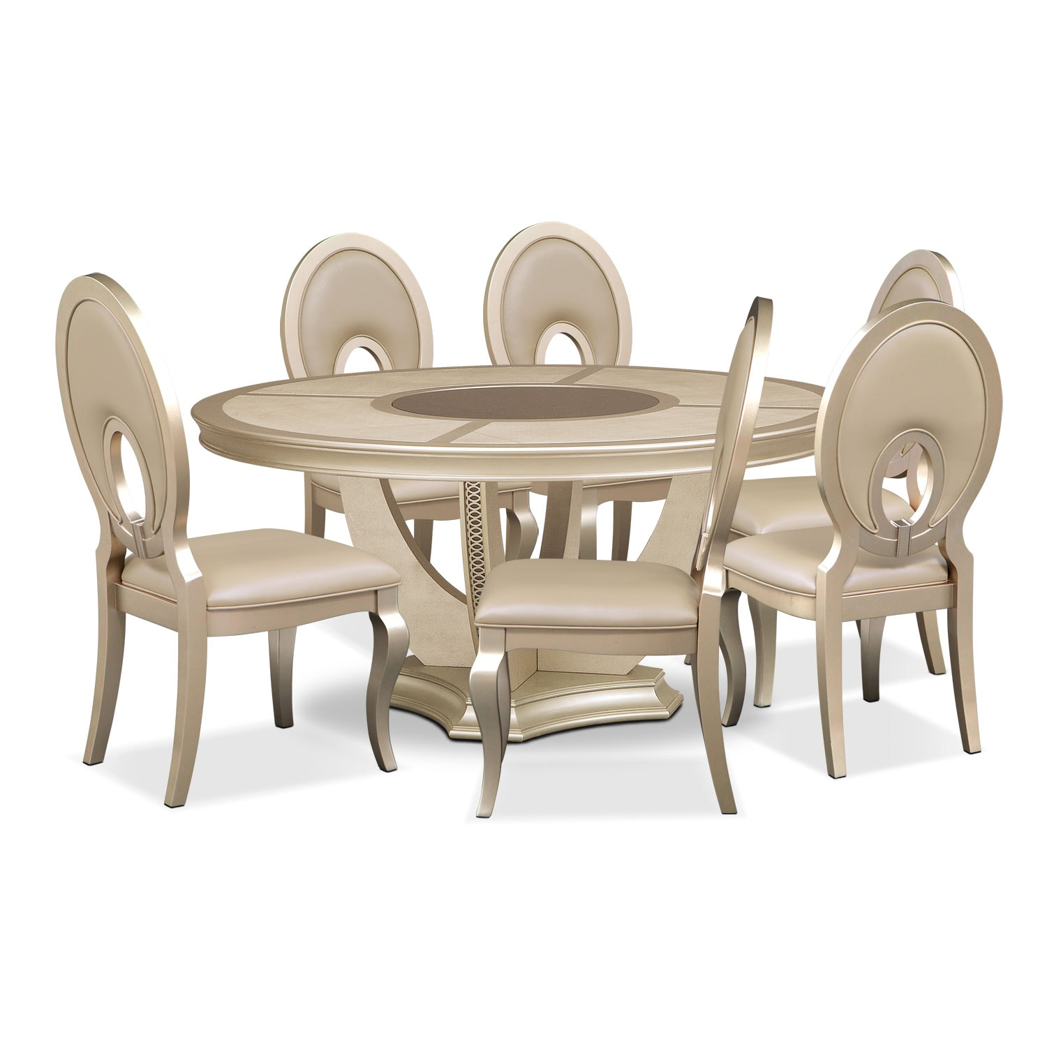 Dining Room Furniture - Allegro Round Table and 6 Chairs - Platinum
