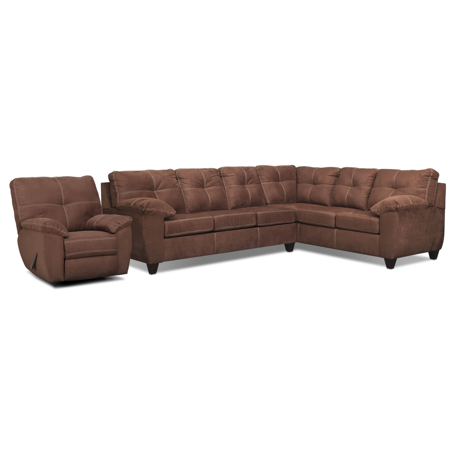 Living Room Furniture - Rialto 2-Piece Sectional with Right-Facing Corner Sofa and Glider Recliner Set - Coffee