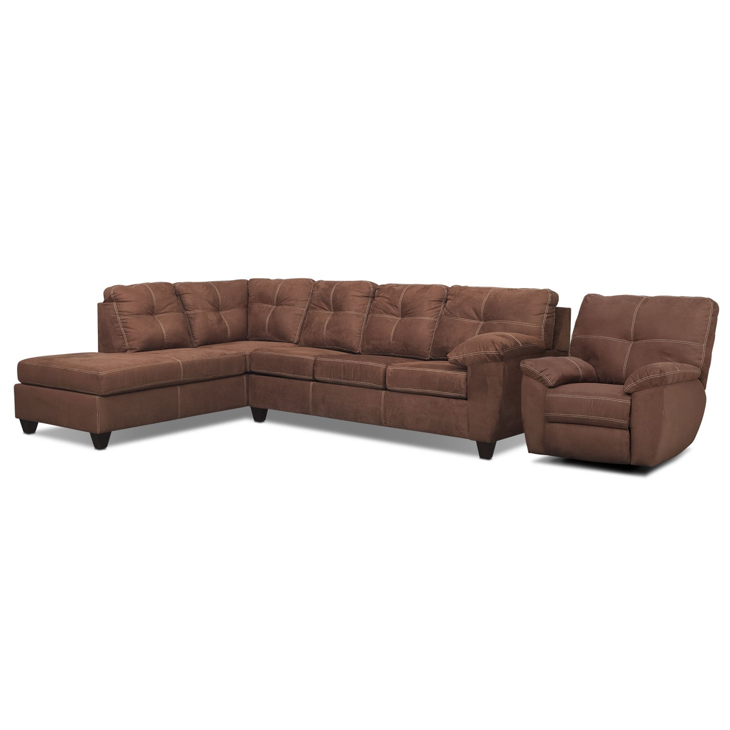 Living Room Furniture - Rialto 2-Piece Sectional with Left-Facing Chaise and Glider Recliner Set - Coffee