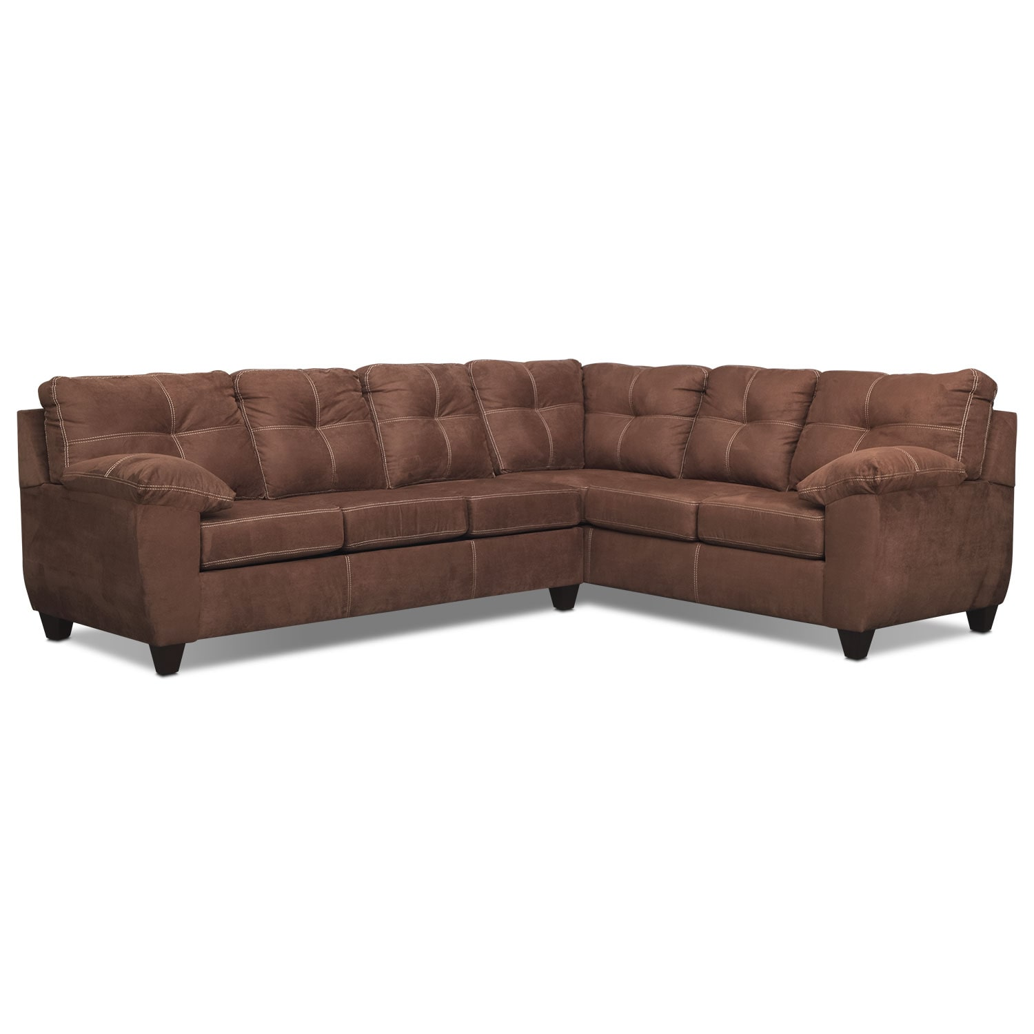 Rialto 2-Piece Sectional with Right-Facing Corner Sofa - Coffee