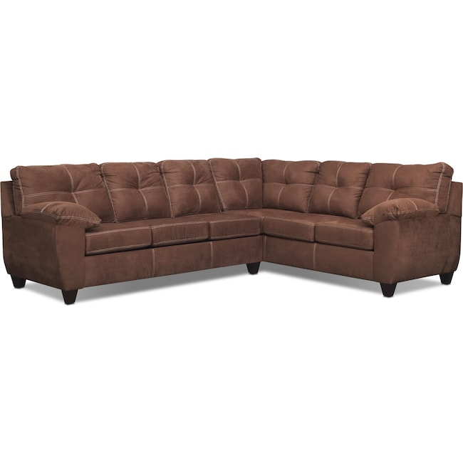Living Room Furniture - Ricardo 2-Piece Sectional with Right-Facing Sofa - Coffee