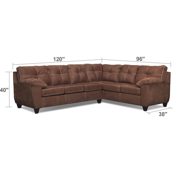Living Room Furniture - Ricardo 2-Piece Memory Foam Sleeper Sectional with Right-Facing Sofa - Coffee