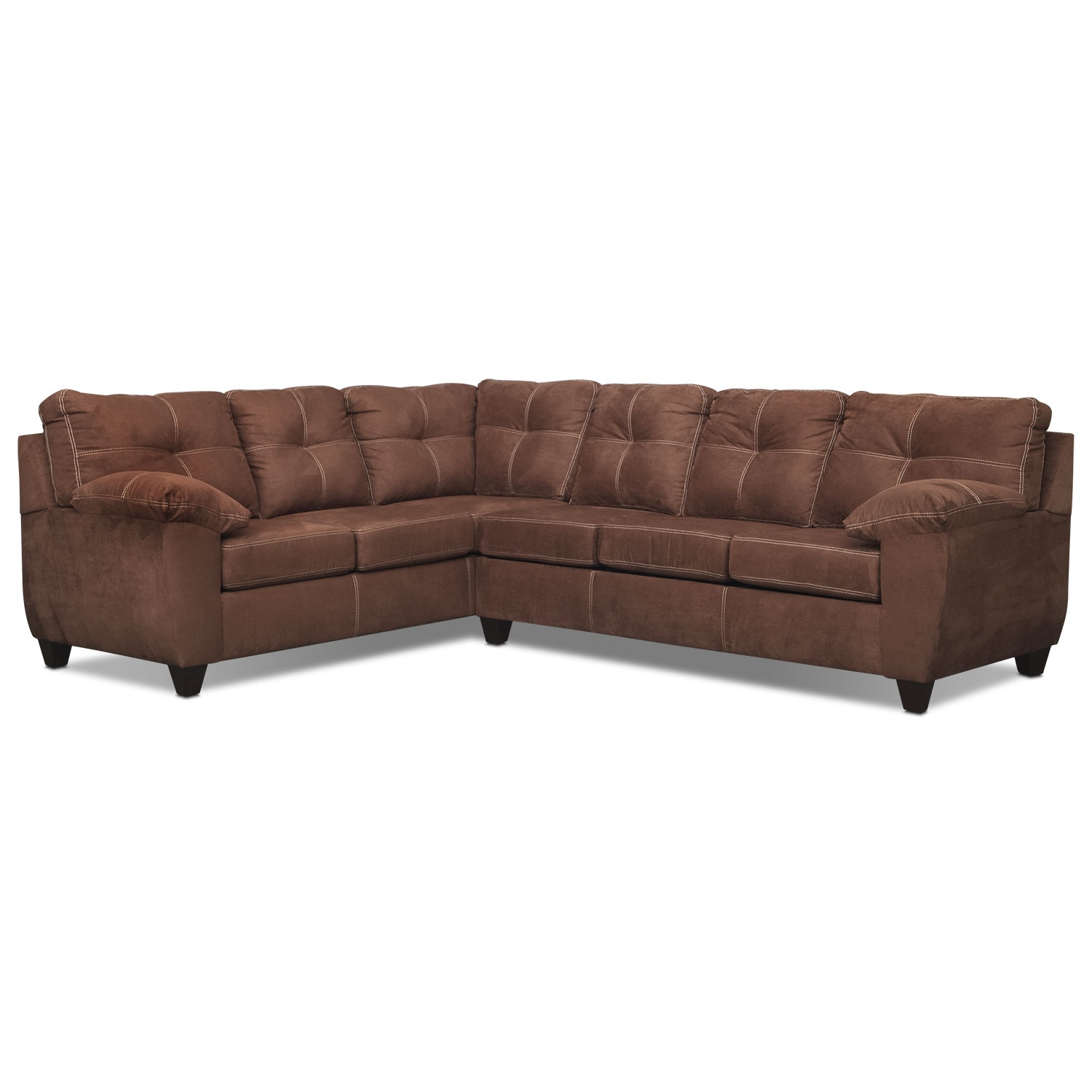 Living Room Furniture - Rialto Coffee 2 Pc. Sectional with Right-Facing Memory Foam Sleeper