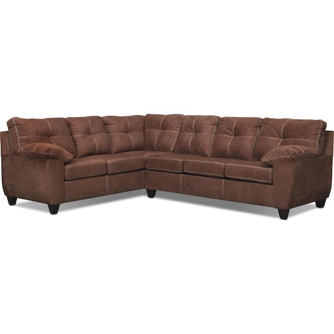 Living Room Furniture - Ricardo 2-Piece Memory Foam Sleeper Sectional with Left-Facing Sofa - Coffee