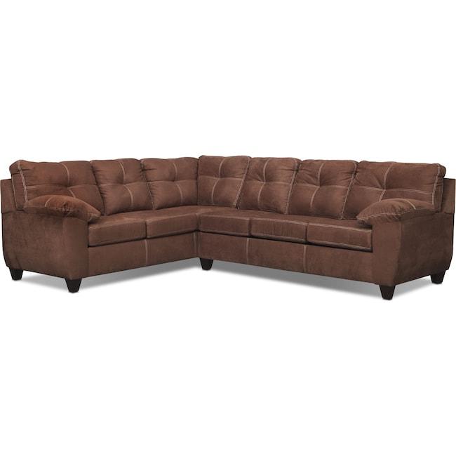 Living Room Furniture - Ricardo 2-Piece Innerspring Sleeper Sectional with Left-Facing Sofa - Coffee