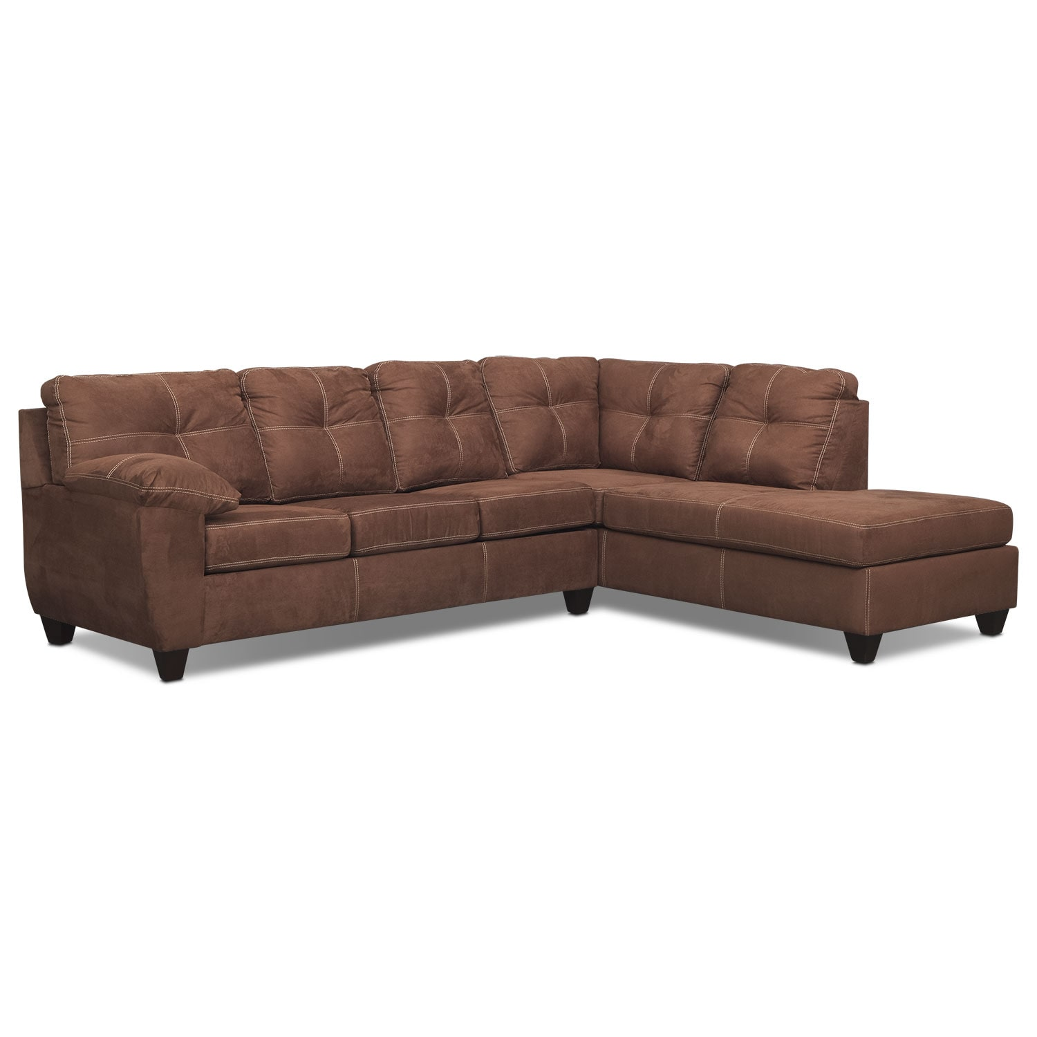 Living Room Furniture - Rialto Coffee 2 Pc. Innerspring Sleeper Sectional with Right-Facing Chaise