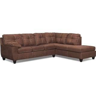 Ricardo 2-Piece Memory Foam Sleeper Sectional with Right-Facing Chaise - Coffee