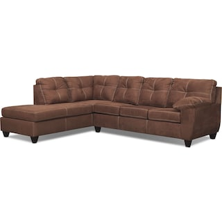 Ricardo 2-Piece Memory Foam Sleeper Sectional with Left-Facing Chaise - Coffee