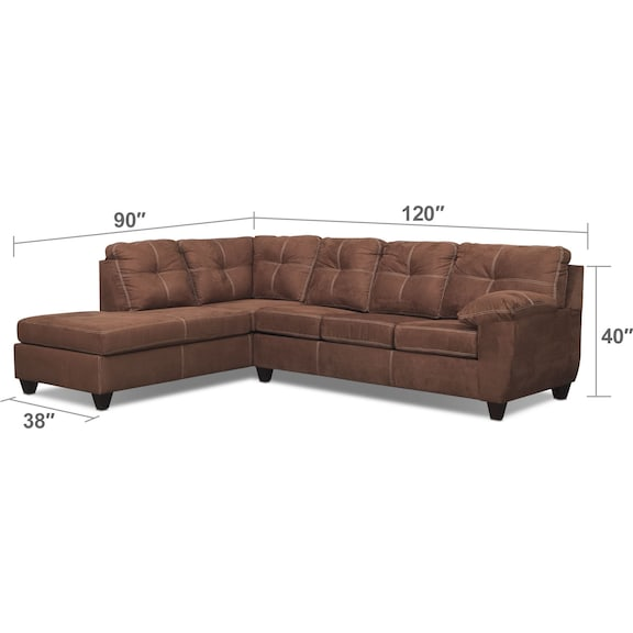 Living Room Furniture - Ricardo 2-Piece Innerspring Sleeper Sectional with Left-Facing Chaise - Coffee
