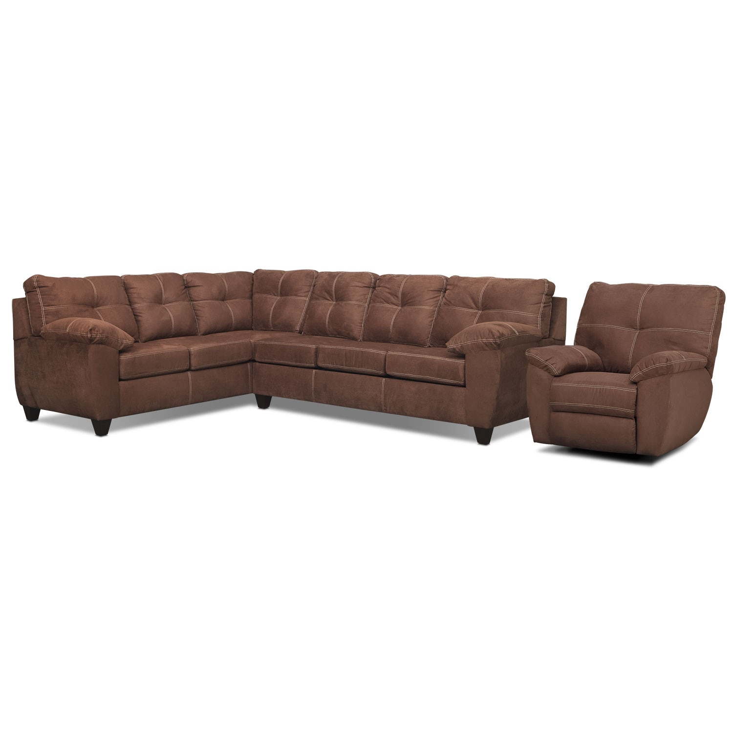Living Room Furniture - Rialto 2-Piece Sectional with Left-Facing Corner Sofa and Glider Recliner Set - Coffee