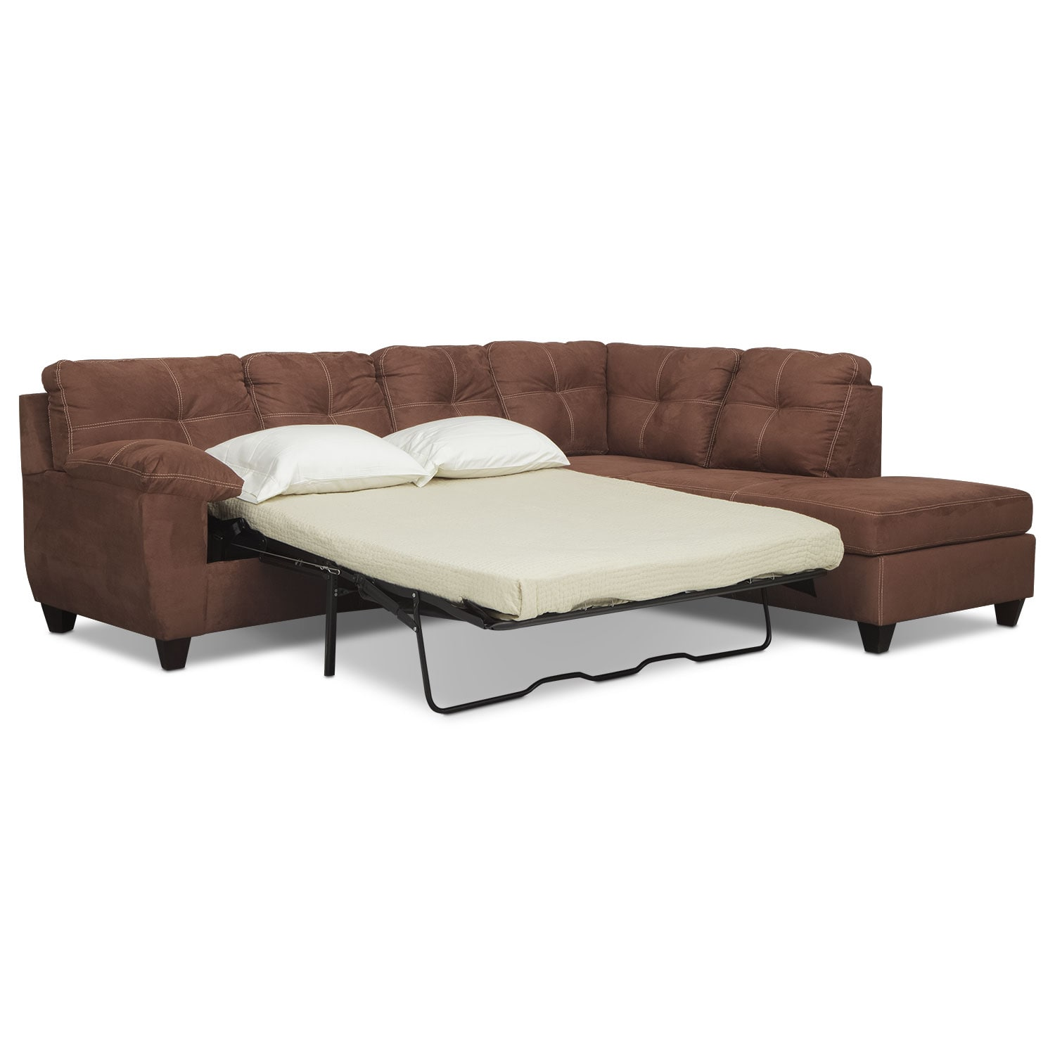 Ricardo 2 piece memory foam sleeper sectional with right for Chaise coffre