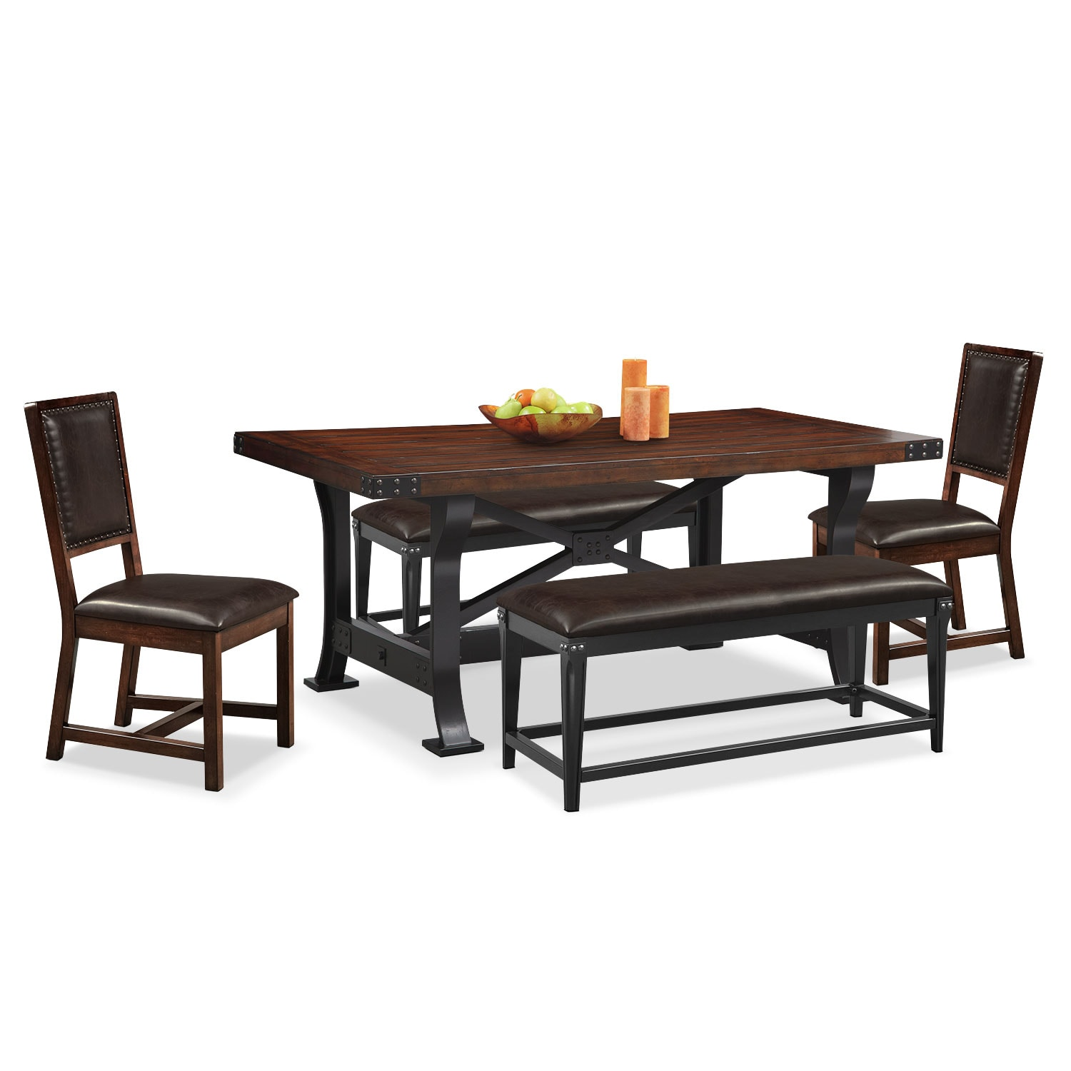 Dining Room Furniture - Newcastle Dining Table, 2 Side Chairs and 2 Benches - Mahogany