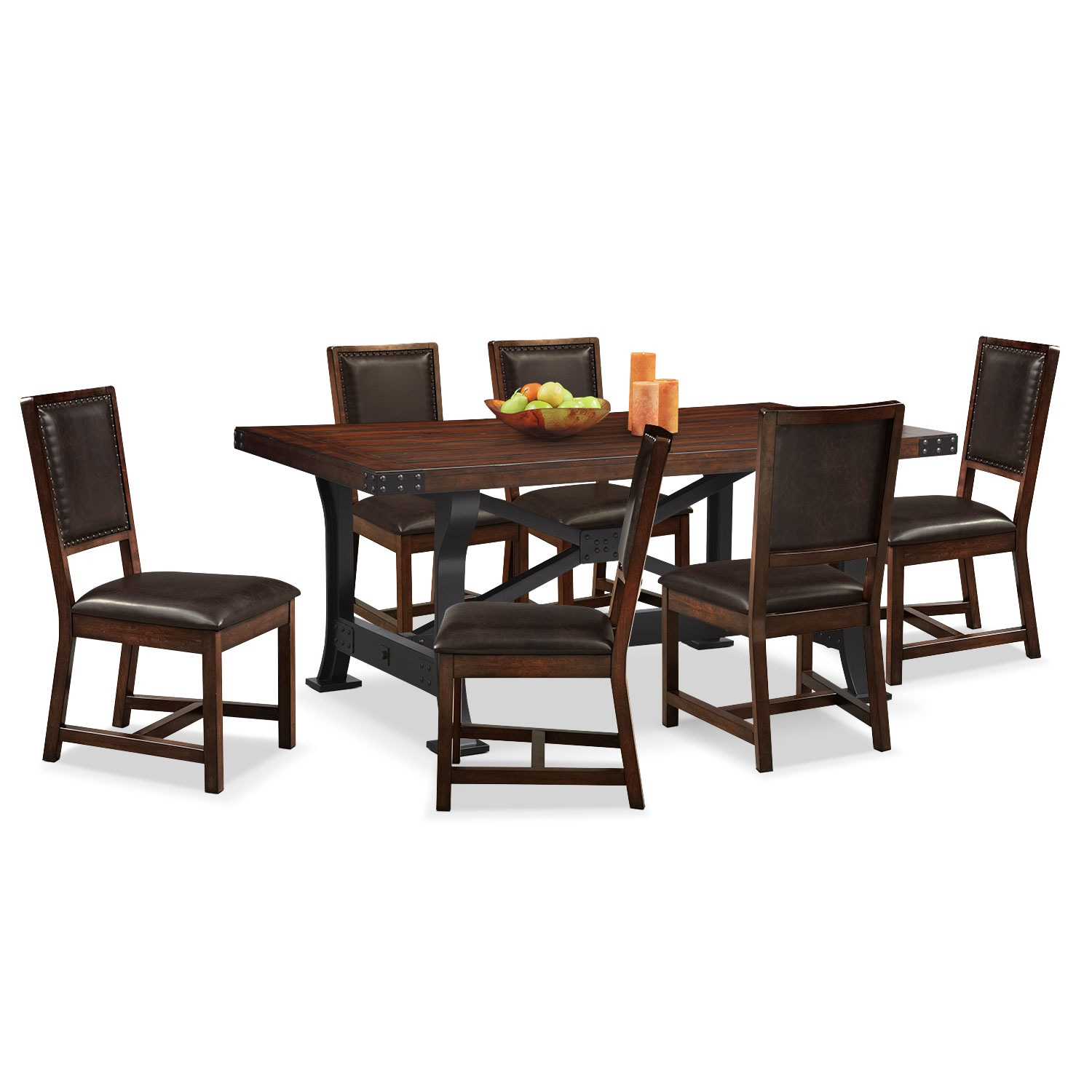 Newcastle Dining Table and 6 Side Chairs - Mahogany | Value City ...