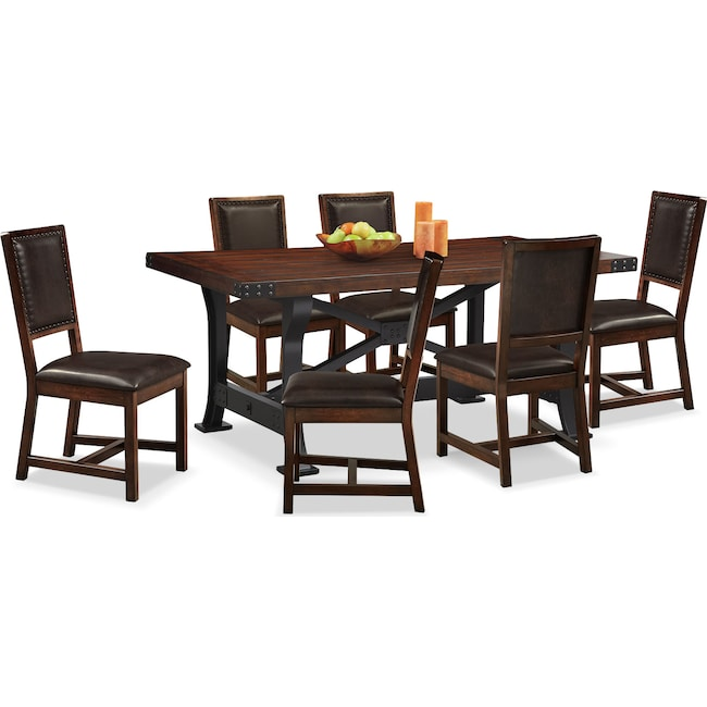Newcastle Table And 6 Chairs - Mahogany | Value City Furniture
