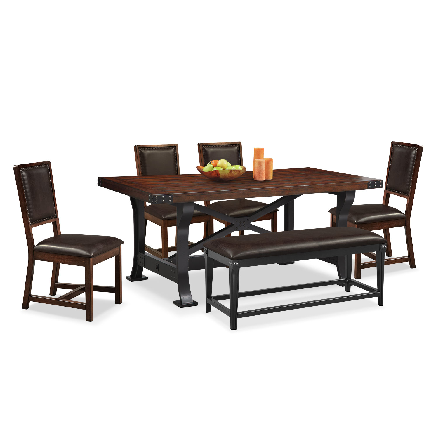 newcastle table , 4 chairs and bench - mahogany | value city furniture