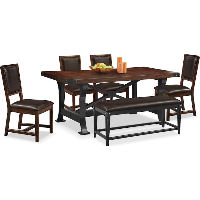 Dining Room Furniture - Newcastle Dining Table, 4 Side Chairs and Bench - Mahogany