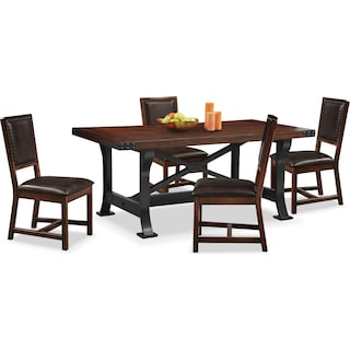 Newcastle Dining Table and 4 Side Chairs - Mahogany