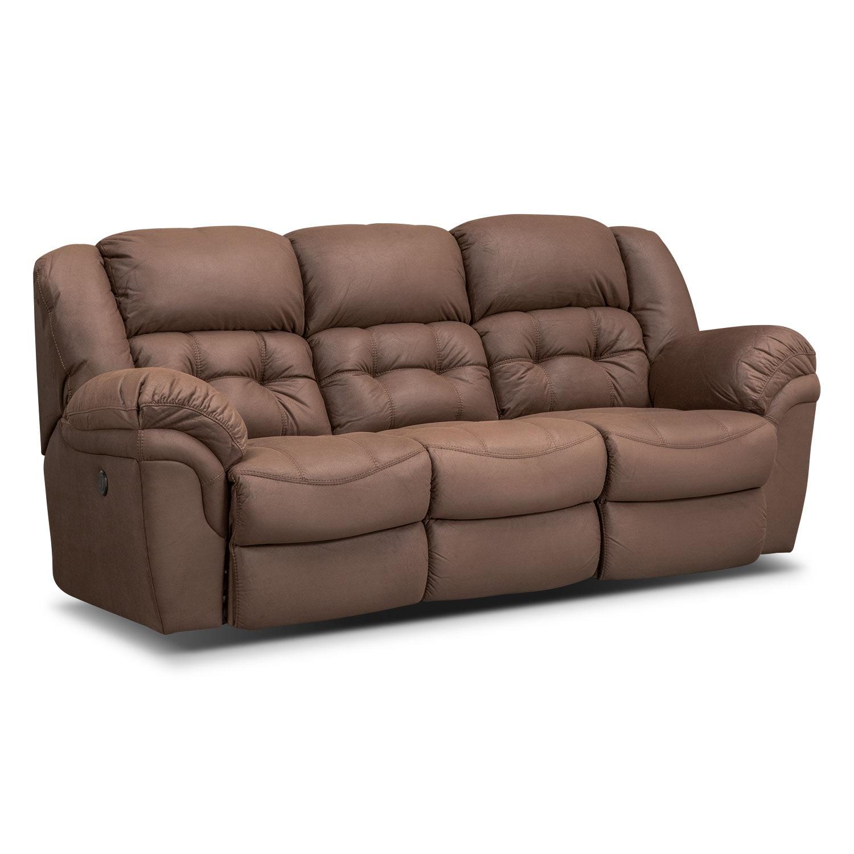 Living Room Furniture - Lancer Power Reclining Sofa - Chocolate