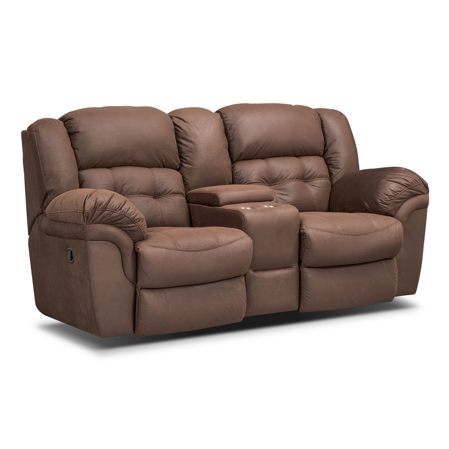 Living Room Furniture - Lancer Chocolate Reclining Loveseat with Console