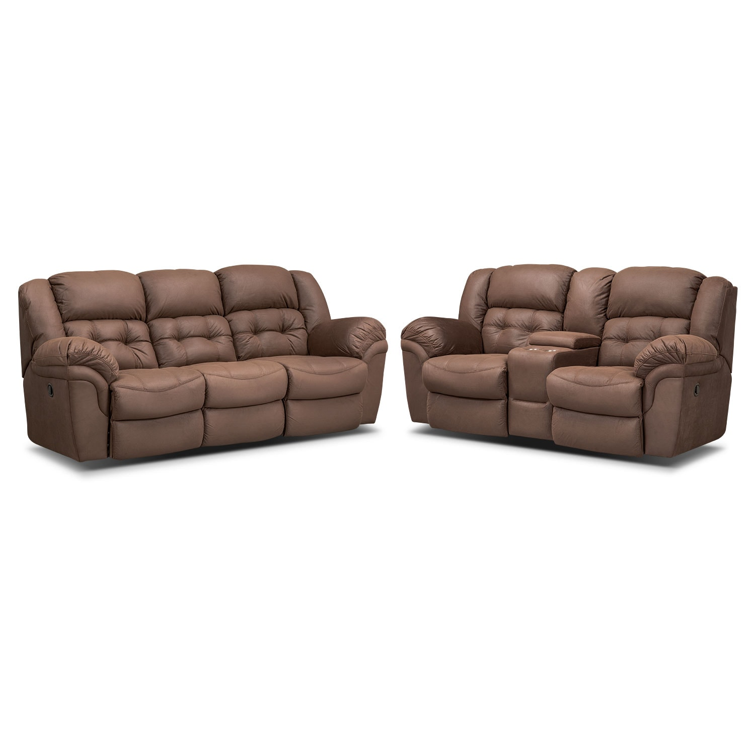 Living Room Furniture - Lancer Chocolate Manual Reclining Sofa and Reclining Loveseat w/ Console Set