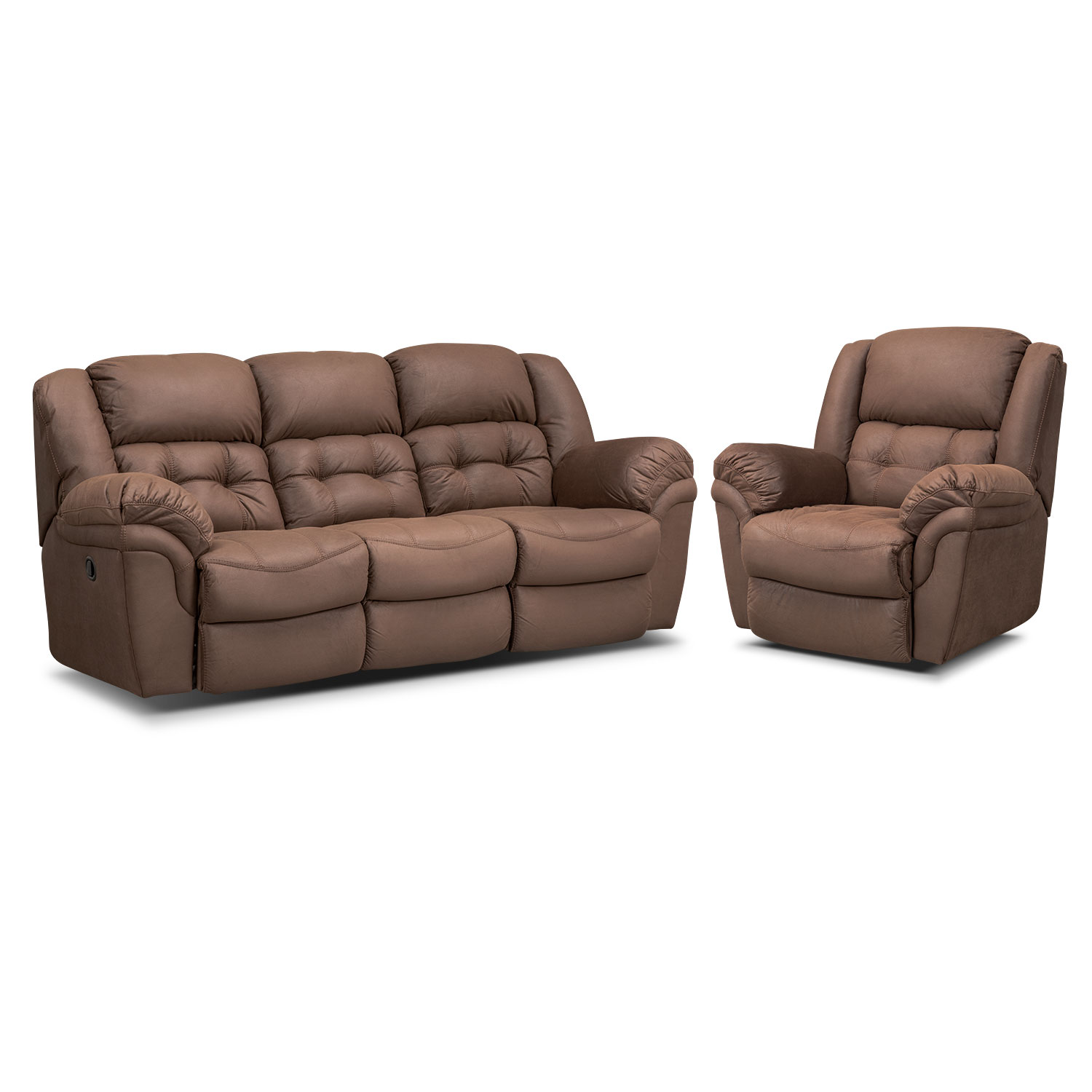 Living Room Furniture - Lancer Chocolate Manual Reclining Sofa and Glider Recliner Set