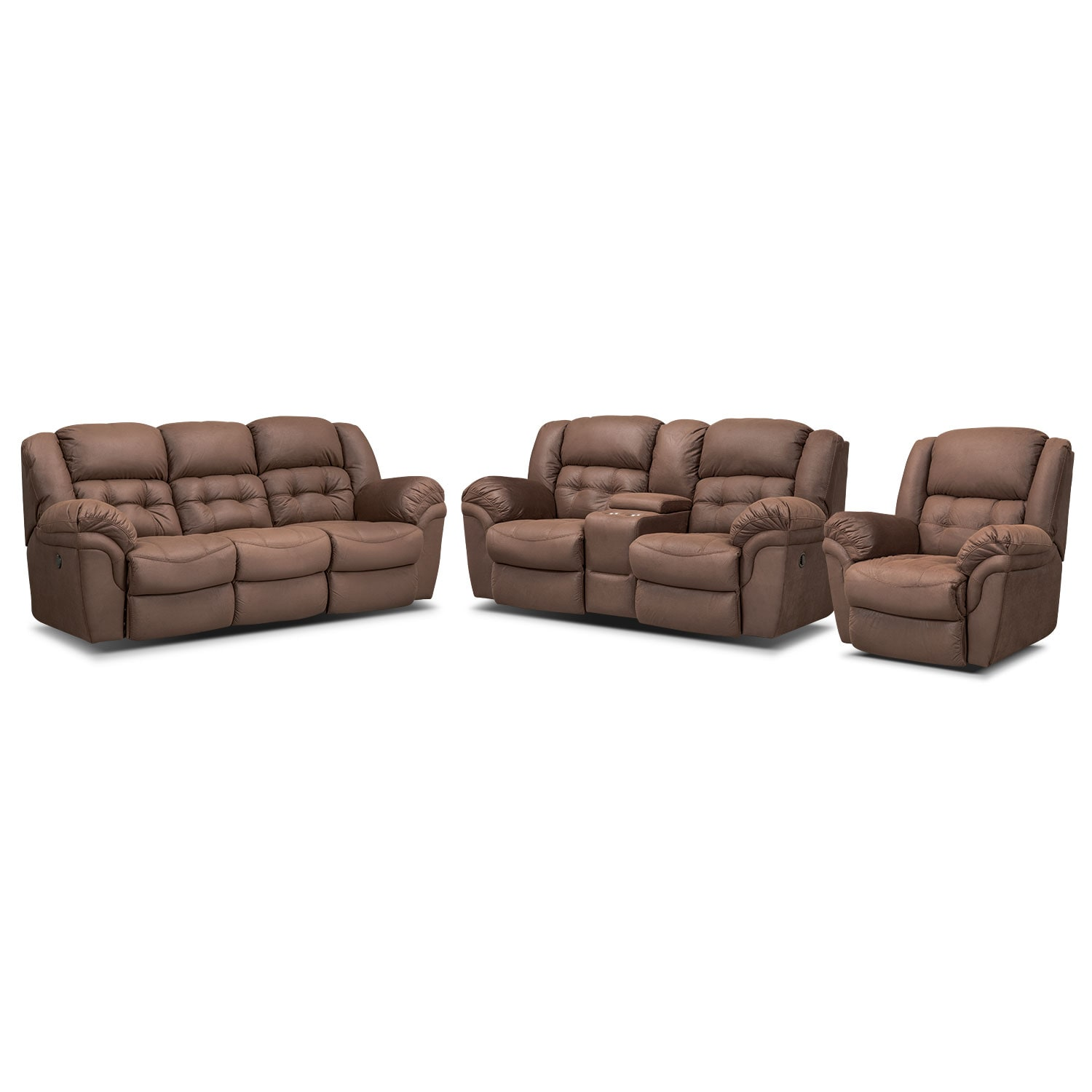 Lancer Chocolate Power Reclining Sofa, Reclining Loveseat w/ Console and Glider Recliner Set