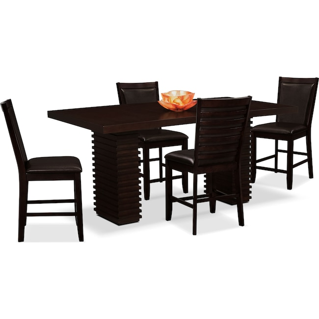 Dining Room Furniture - Paragon Counter-Height Table and 4 Chairs - Brown