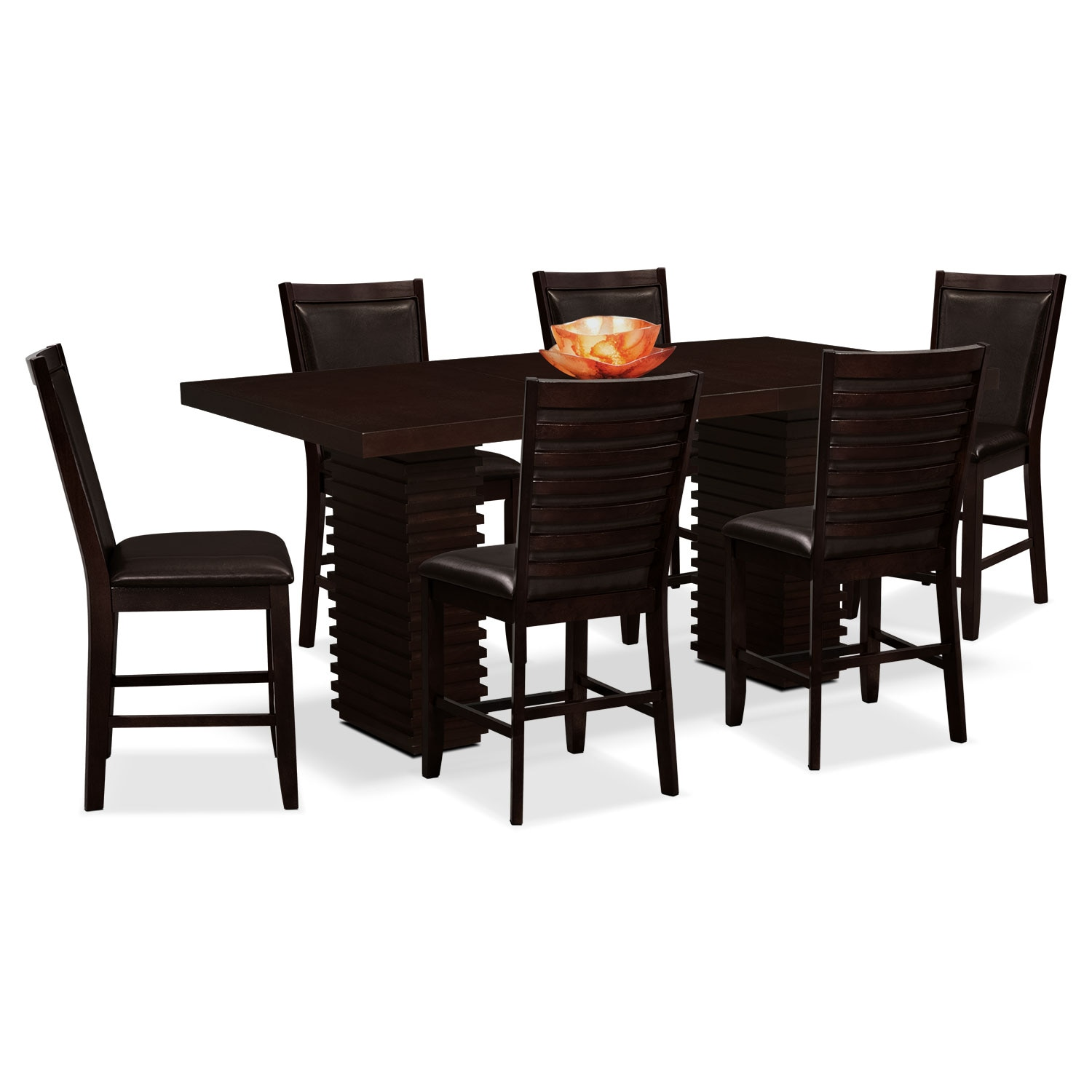 paragon table and 6 chairs brown - Steve Silver Furniture