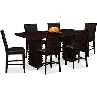 Paragon Counter-Height Table and 6 Chairs - Brown