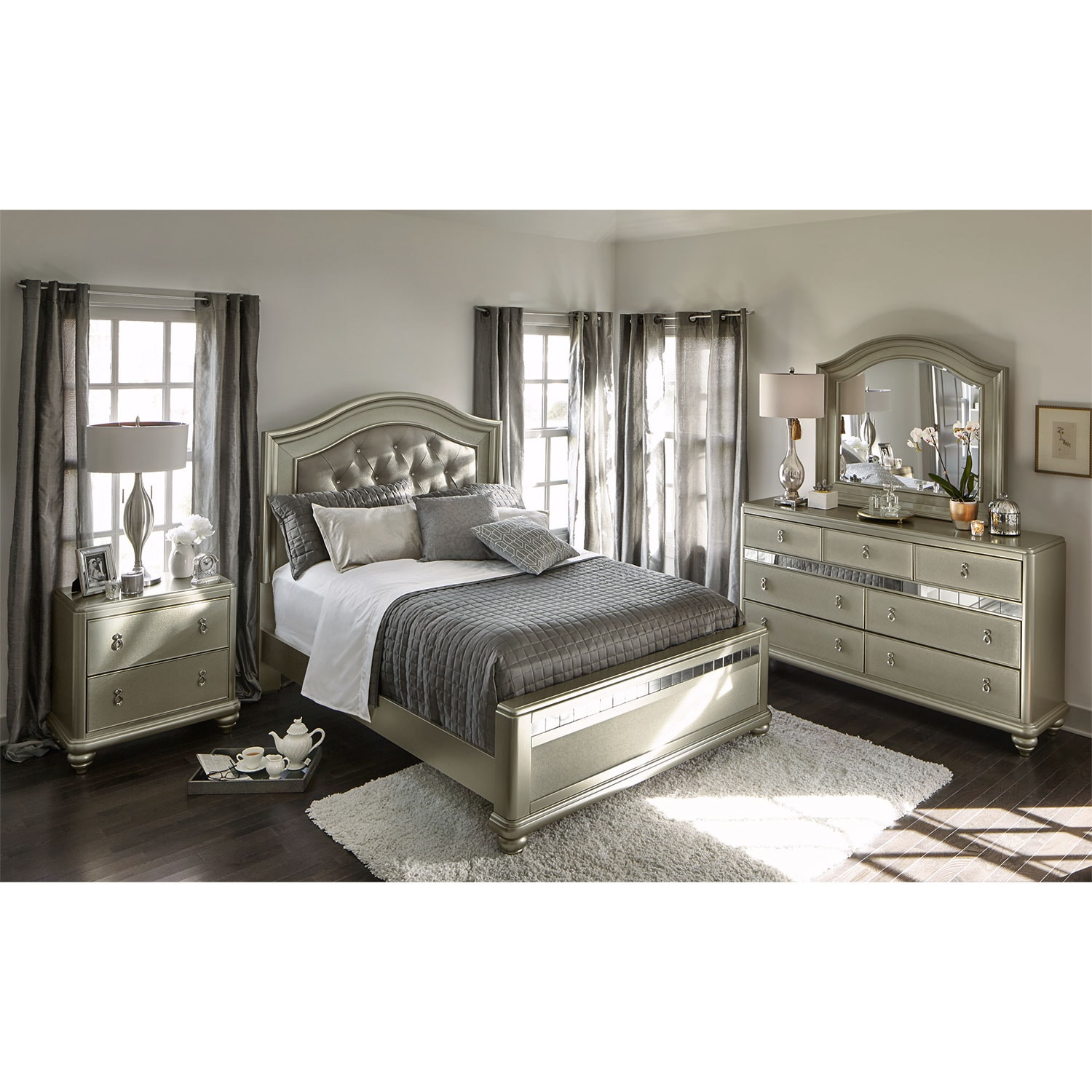 Serena Queen 6-Piece Bedroom Set - Platinum | Value City Furniture ...