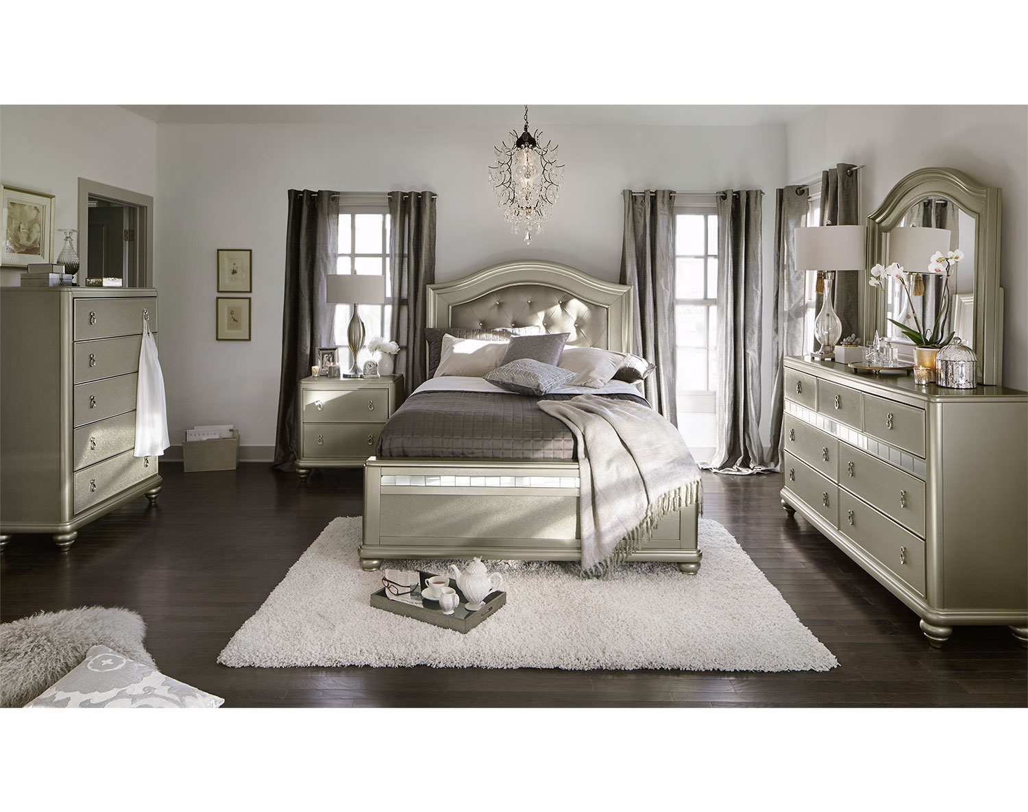 Bedroom Sets Value City the serena collection - platinum | value city furniture