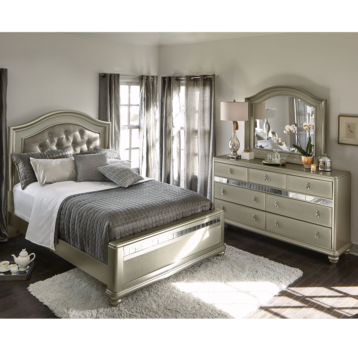 Bedroom Furniture Queen Sets serena queen 5-piece bedroom set - platinum | value city furniture